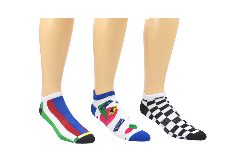 Sock House Co. Men's 90's Retro 3 Pair Pack Lowcut Socks