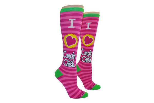 Candy Crush I Heart Candy Crush Stripe Knee High Socks