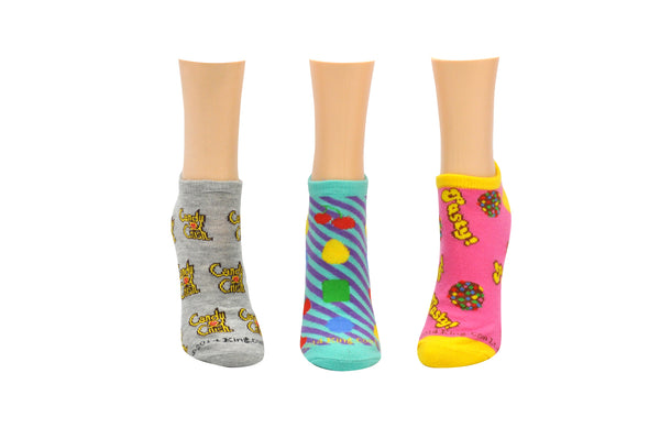 Candy Crush Color Bomb 3 Pair Pack of Lowcut Socks
