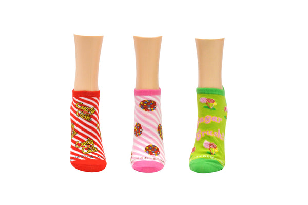 Candy Crush Sugar Crush 3 Pair Pack of Lowcut Socks