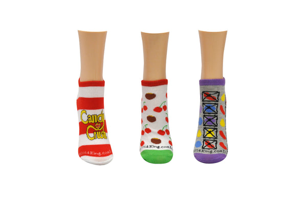 Candy Crush 3 Pair Pack of Lowcut Socks