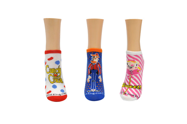 Candy Crush Toffee Tiffi 3 Pair Pack of Lowcut Socks