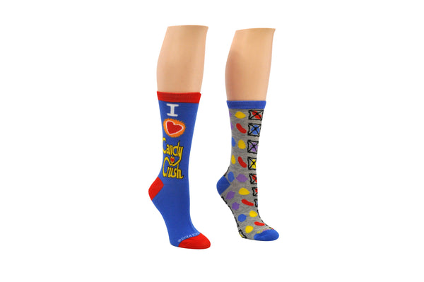 I Heart Candy Crush 2 Pair Pack of Crew Socks