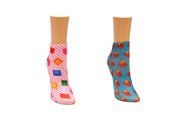 Wrapped Candy Printed 2 Pair Pack of Lowcut Socks