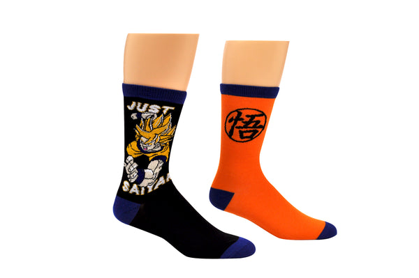Dragon Ball Z Just Saiyan 2 Pair Pack Crew Socks