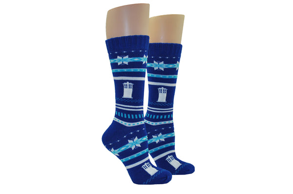 Tardis Fairisle Chunky Knit Sock