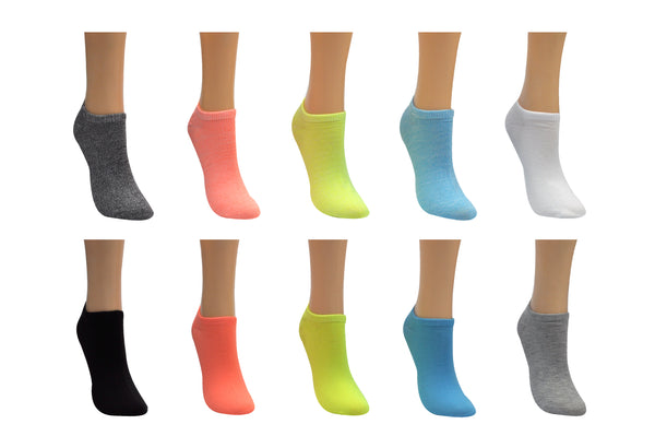 Everything Legwear 10 Pair Pack Neon Lowcut Socks