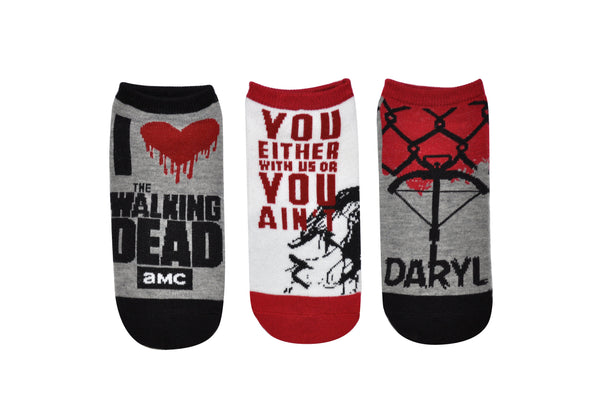 The Walking Dead I Heart The Walking Dead Daryl 3 Pair Pack of Lowcut Socks