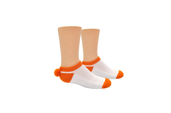 Sock House Co. Youth Athletic Pom Pom Lowcut Sock - Orange