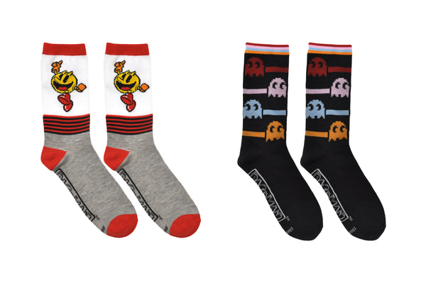 PAC-MAN and Ghosts 2 Pair Pack Crew Socks