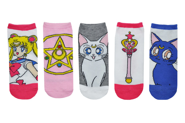 Sailor Moon Icons 5 Pair Pack of Lowcut Socks