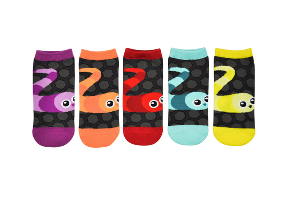 Slither.io 5 Pair Pack of Lowcut Socks