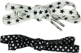 Shoelaces 2 Pair Star/Minidot - Black