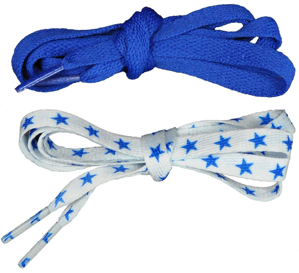 Shoelaces 2 Pair Star/Solid - Royal