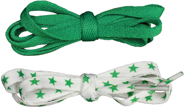 Shoelaces 2 Pair Star/Solid - Green