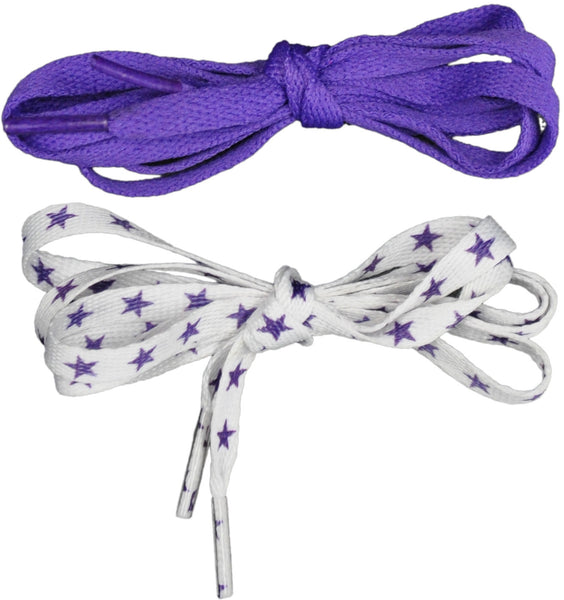 Shoelaces 2 Pair Star/Solid - Purple