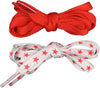 Shoelaces 2 Pair Star/Solid - Red