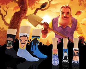 Creepy and cool Hello Neighbor video game socks for women in front of a background of neighbor with his shovel