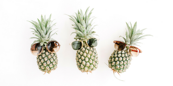 3 pineapples with sunglasses