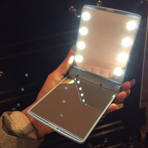 Image of Mirror Pocket Makeup Folding With 8 LED Lights