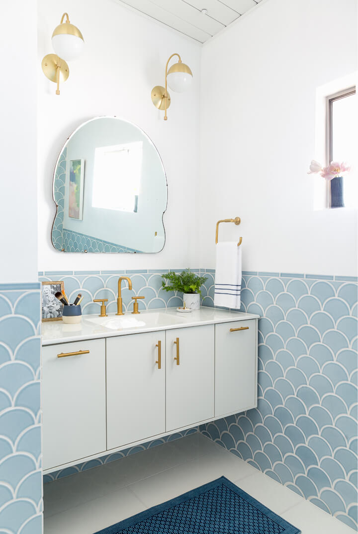 Emily Henderson pale blue bathroom