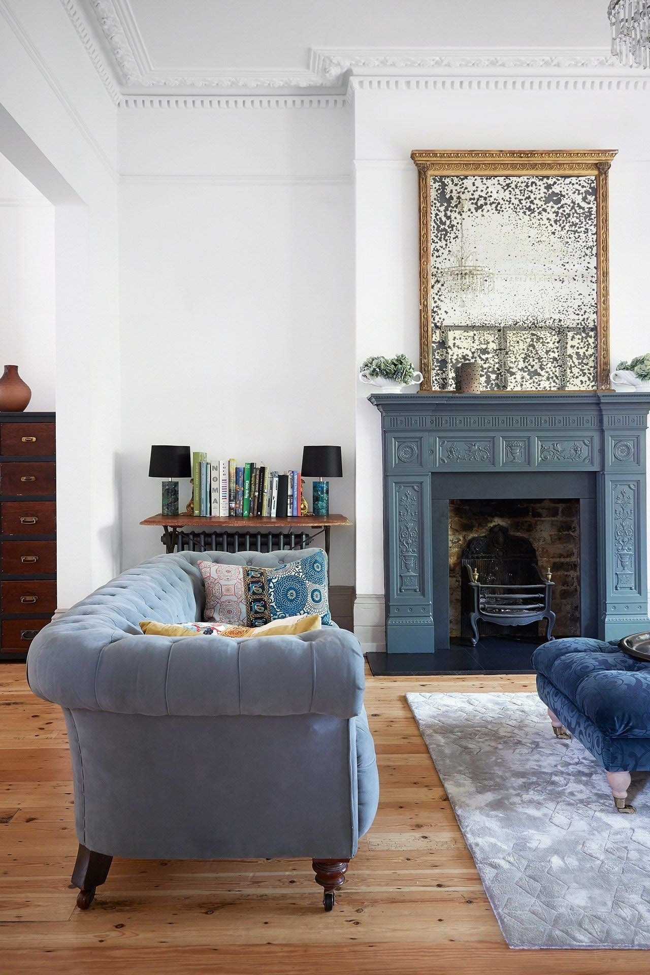Living Room with blue painted fireplace
