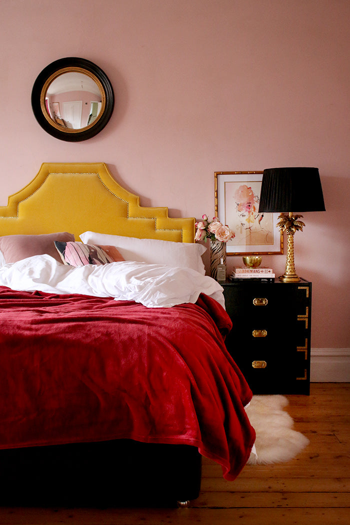 Farrow & Ball Calamine Blush Pink Bedroom with gold and berry accents