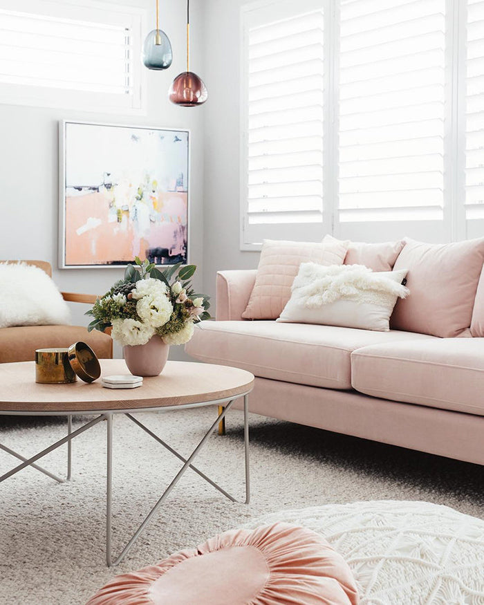 Pale pink sofa living room