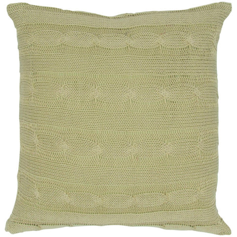Cable Knit Pillow with Wooden Button Closure and Poly Filler Insert in Sage