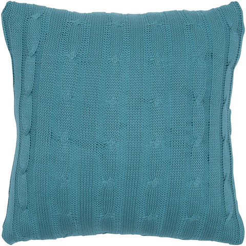Cable Knit Pillow with Wooden Button Closure and Poly Filler Insert in Turquoise