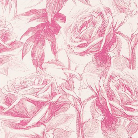 Clarke & Clarke Empress Rose Wallcovering in Magenta