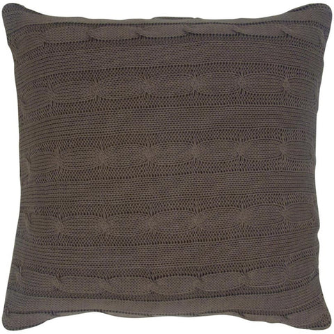 Cable Knit Pillow with Wooden Button Closure and Poly Filler Insert in Mocha