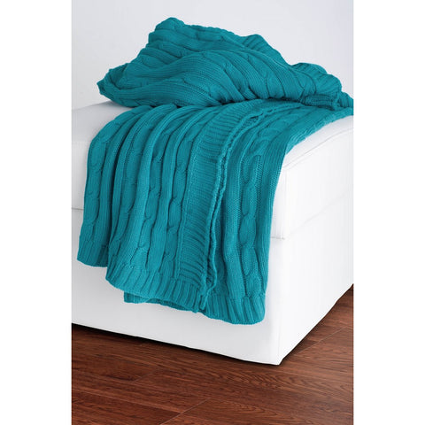 Rizzy Home Throw in Turquoise