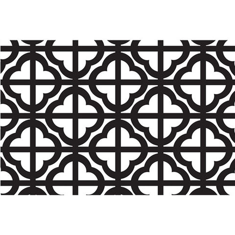 Paper Placemat Pads, Quatrefoil, in Black & White