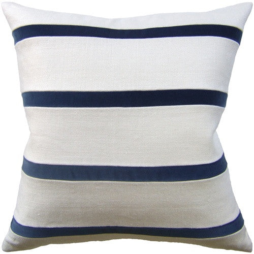 "Ryan Studio Giorgio Linen Stripe 22"" Pillow In Bone/Dark Indigo"