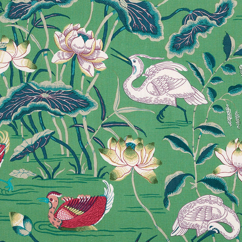 Schumacher Lotus Garden Fabric, Jade
