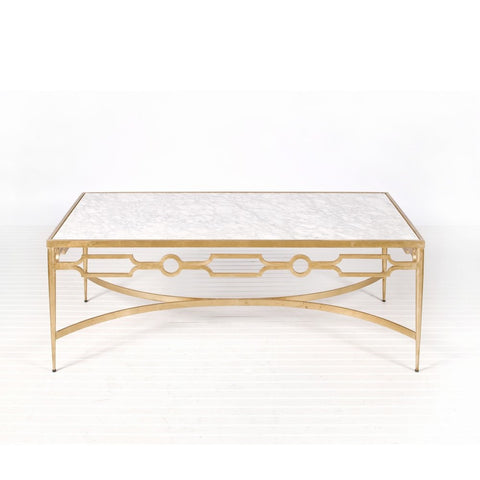 Worlds Away Grace Gold Leaf And Marble Coffee Table