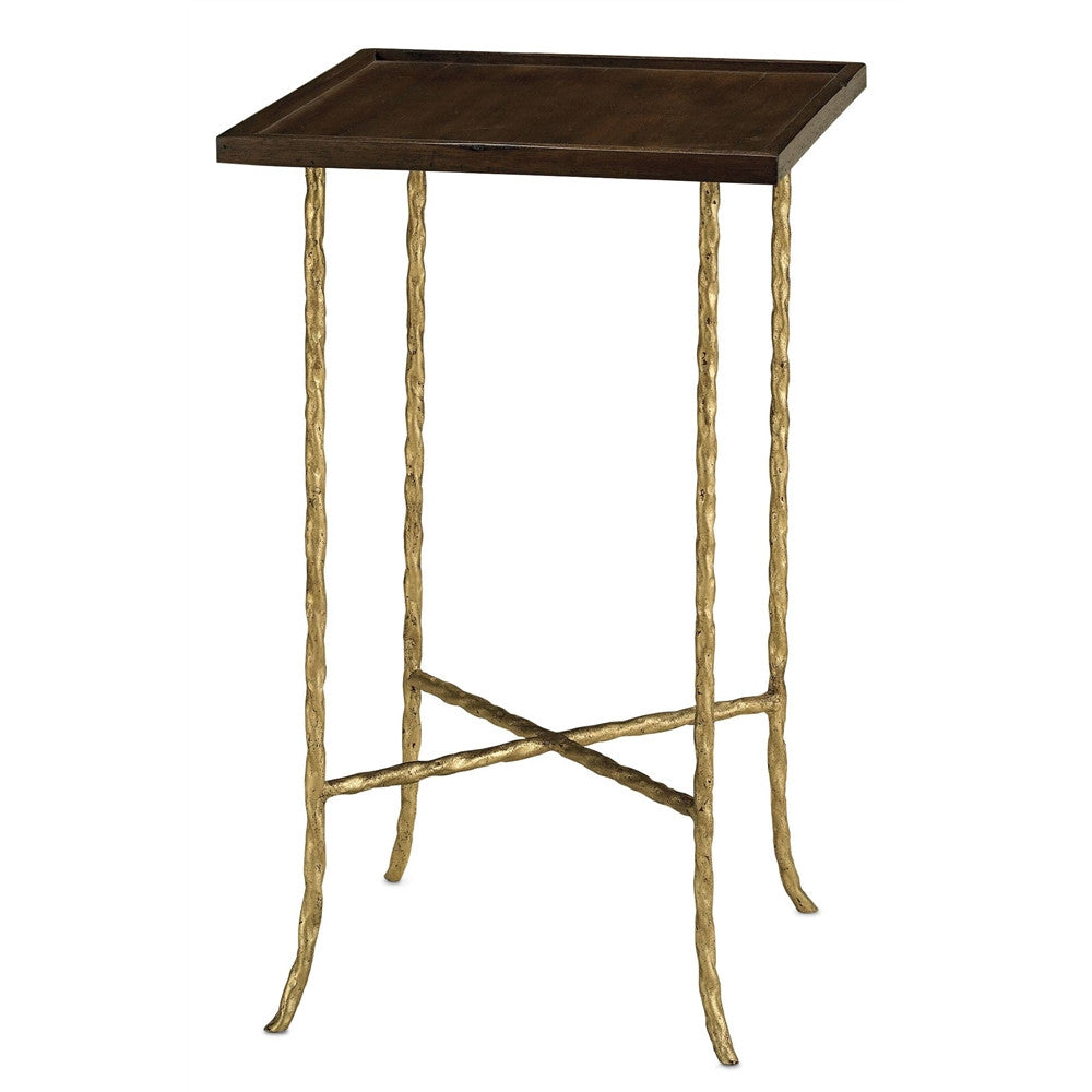 Currey & Company Gilt Twist Square Table
