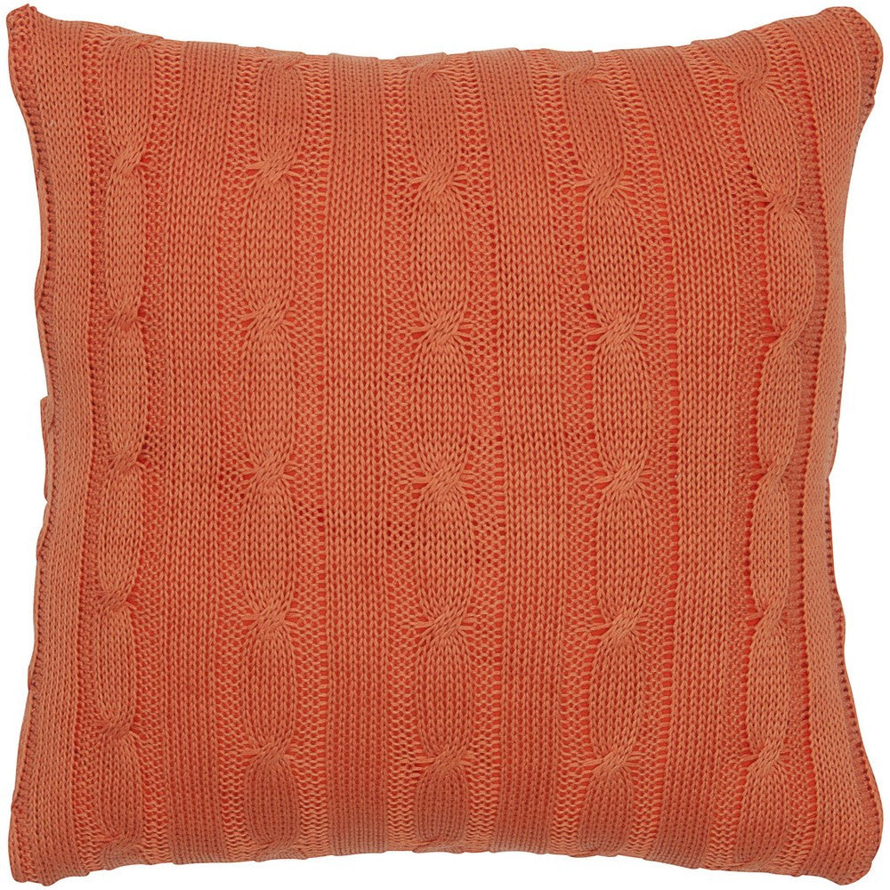 Cable Knit Pillow with Wooden Button Closure and Poly Filler Insert in Orange