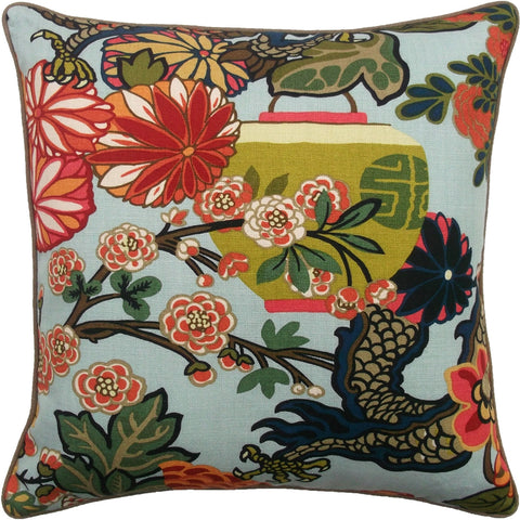 Ryan Studio Chiang Dragon Pillow in Aquamarine