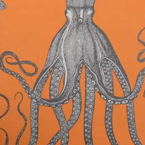 Duralee Fabric by the Yard: Octopus in Papaya