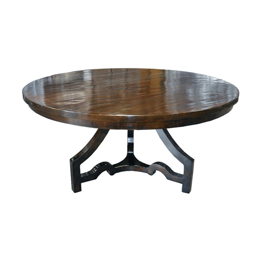 Noir 3 Leg Round Dining Table, Distressed Brown