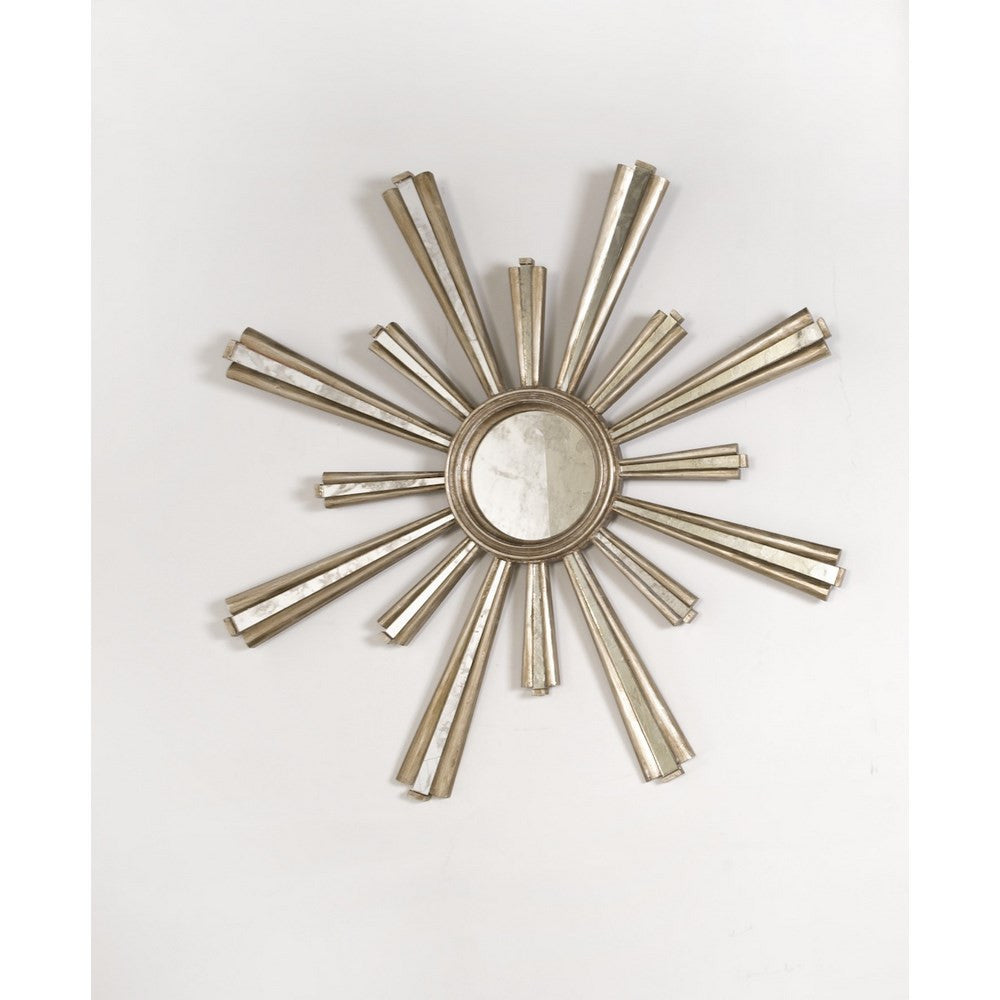 Worlds Away Jackie Silver Leaf Starburst Mirror