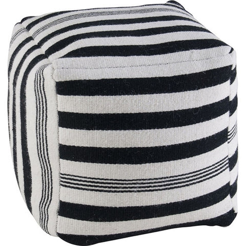Rizzy Home Pouf in Black and White Stripe