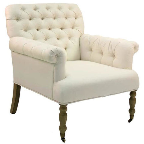 Zentique Lorraine Tufted Arm Chair in Ivory Linen
