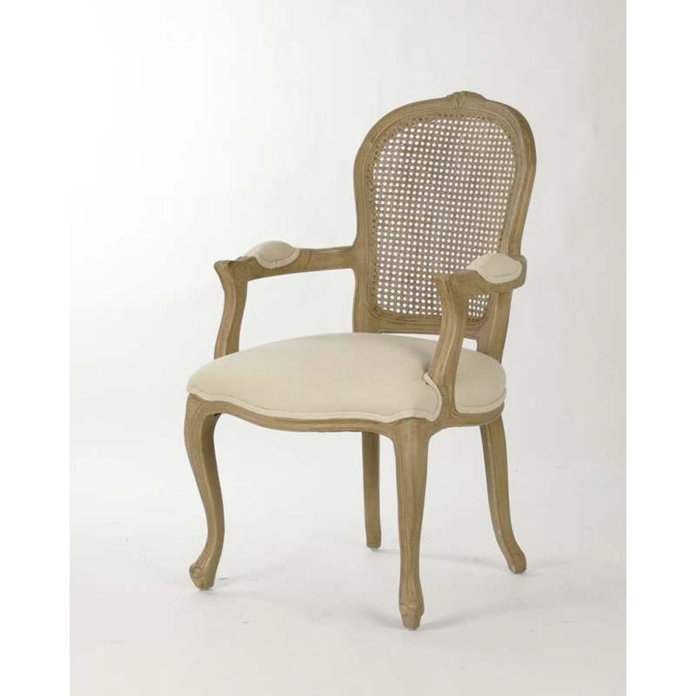 Zentique Lyon Cane Arm Chair in Linen