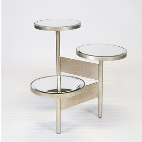 Worlds Away Colin Silver Leafed Side Table W. Mirrored Tops