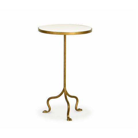 Redford House Grace Side Table in Gold and White