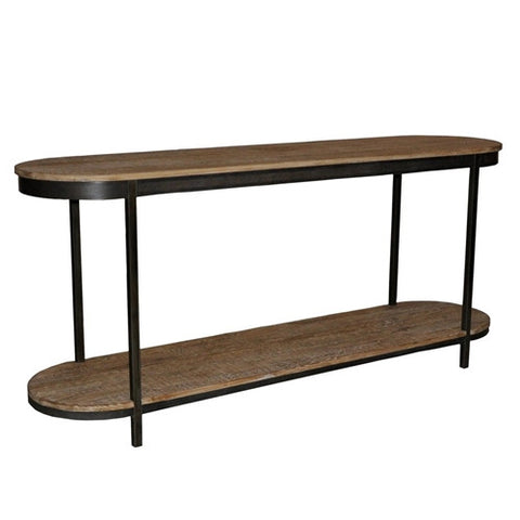 CFC Metal and Reclaimed Lumber Oval Console