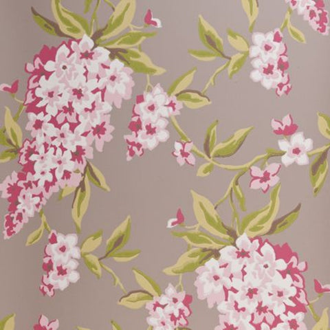 Clarke & Clarke Wisteria Double Roll Wallpaper in Taupe